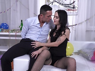 Hardcore ass fuck and mouth full of cum for Sasha Sparrow in fishnets