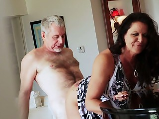Bootyful and big tittied cougar Leylani Wood goes wild on a firm dick and gets doggy fucked