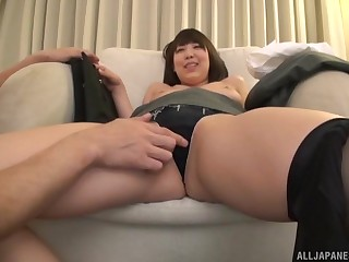 Asian babe in handcuffs fucks cowgirl and doggy style