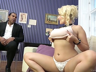 Wow blond milf Angel Wicky gives a boobjob with an increment of gets her pussy blacked