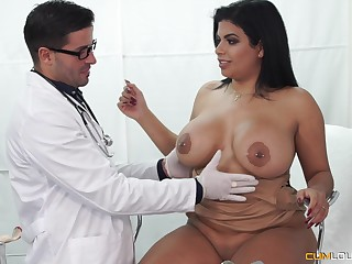 Plump Latina seduced by her doctor into fucking and eating cum