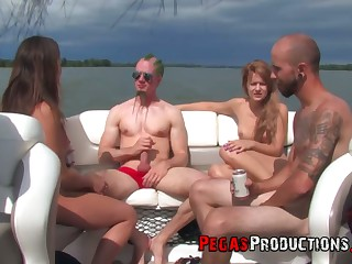 Slutty Canadian chick Kendra White takes part in crazy vessel orgy hither strapons