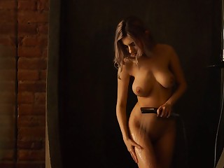 Gorgeous busty babe Eva Elfie takes a shower onwards making love with her boyfriend