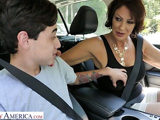 Flagitious stepmom Vanessa Videl gives a blowjob and gets her pussy nailed