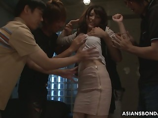 Several students be captivated by Japanese slip up on Kanako Iioka and fill her snatch with cum