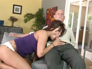 Senior man fucks Asian pussy and loves the moans she makes