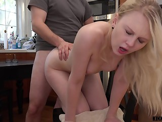 Pretty stepdaughter Lily Rader gets a mouthful of cum make sure of crazy coition in the kitchen