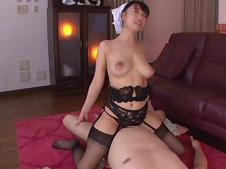 Busty Japan maid rides her master until he cums in her