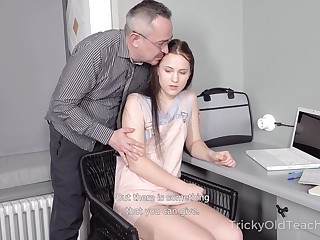 Tricky old teacher fucks Candid A-student Nikka Sublimity and cums on her belly
