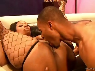 Chubby sooty in fishnet stockings gets her pussy eaten out then slammed hardcore