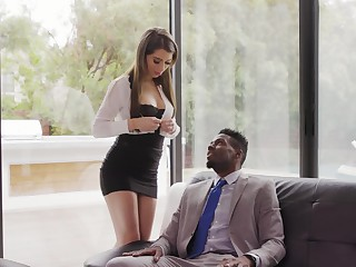 Beautiful white gossip columnist Joseline Kelly gets her anus holed by black boss