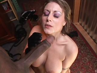 Of age Velicity Von feeds her shaved pussy near friend's long pecker