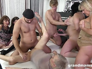 Granny Group dealings orgy - euro porn with old matures