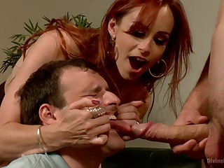 Dominant redhead shares slave's dick with her hubby in a seem like trio