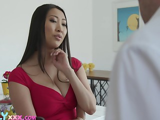 Stepmom's boobies drives him crazy and he can't resist the temptation upon fuck her Asian cunt