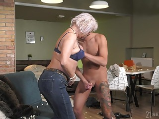Mature rides cock like a deity coupled with wants all round swallow