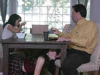 Young minority Jackie Rogen and Aliya Brynn swap cum during dirty threeway