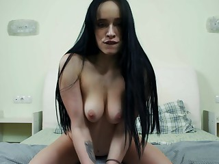 Babe has a nice pussy that gets soiled when she is masturbating with her toy