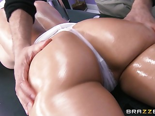 Busty brunette Eva Karera takes a long blarney in all of her holes