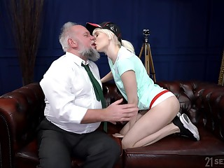 Young blonde suits her lecherous needs hither an old cock